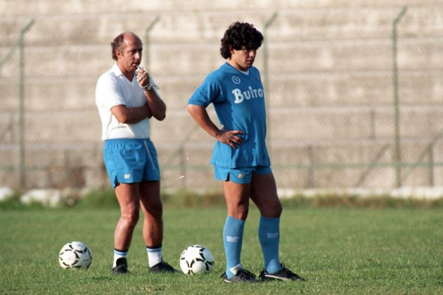 NAPLES, ITALY - OCTOBER 17: Diego Maradona and head coach Ottavio Bianchi of Napoli are seen during a...