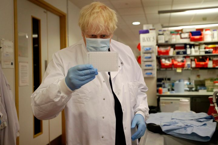 U.K. Prime Minister Boris Johnson during a visit to the Jenner Institute in Oxford where he met scientists who are leading th