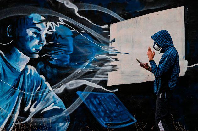 Τοιχογραφία του street artist...