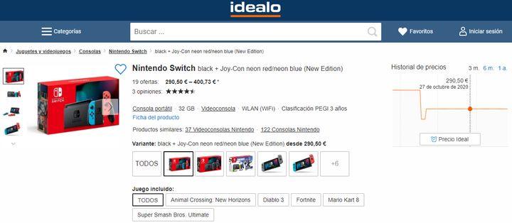 Consola Nintendo Switch en Idealo.