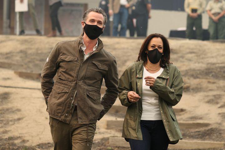 Sen. Kamala Harris (D-Calif.) is shown here walking meets with California Gov. Gavin Newsom (D) in September. Harris' ascent