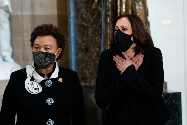 Rep. Barbara Lee (D-Calif., left) attends the memorial service for Supreme Court Justice Ruth Bader Ginsburg. Lee's oppositio
