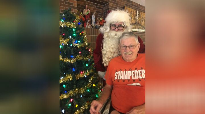 Larry used to dress up as Santa to visit his dad Glen on Christmas Eve.