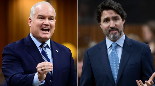 Conservative Leader Erin O'Toole and Prime Minister Justin Trudeau are shown in a composite image of...