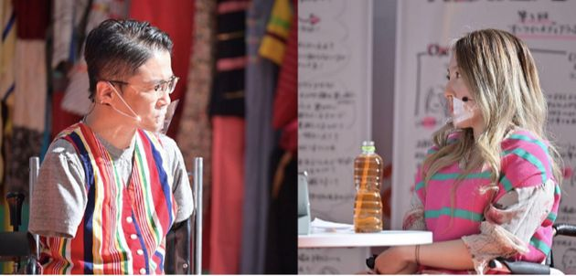 中嶋涼子さん(右)のインタビューに応じる乙武洋匡さん
