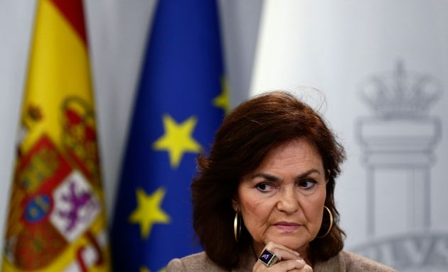 La vicepresidenta Carmen Calvo, fotografiada en La Moncloa el 2 de noviembre de 2018 (AP Photo/Manu