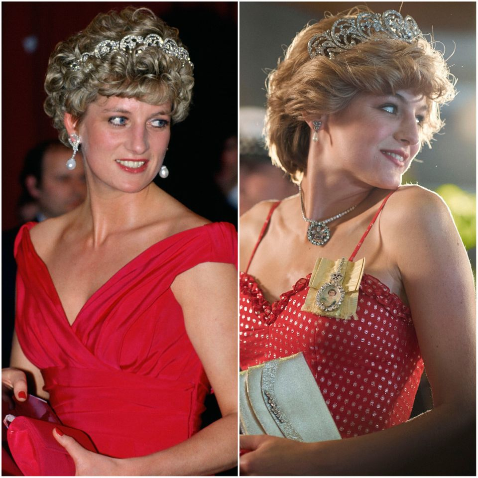 Princess Diana on the left, and on the right, Emma Corrin portraying the princess on The