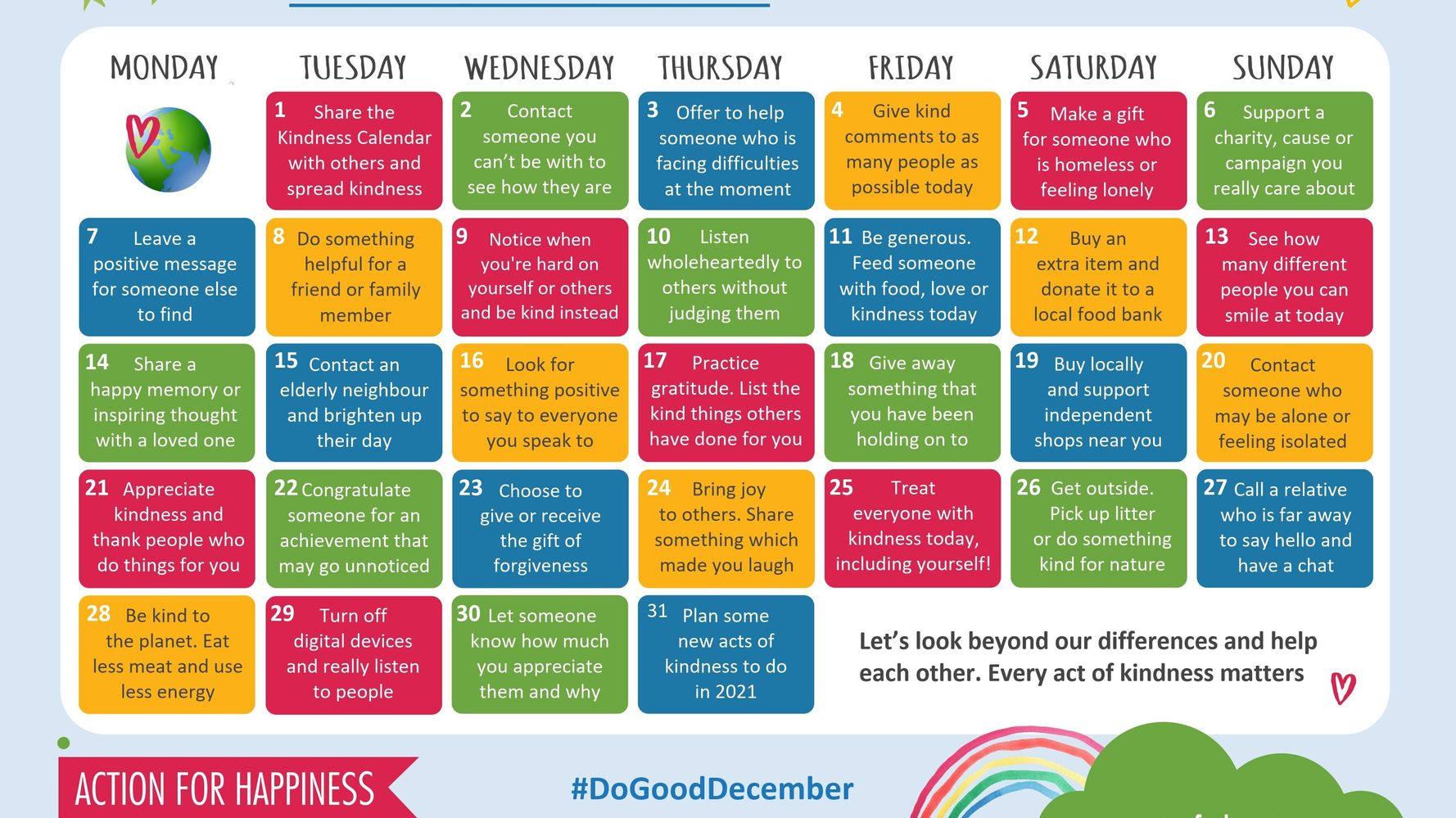 Count Down The Days To Christmas With This Kindness Calendar