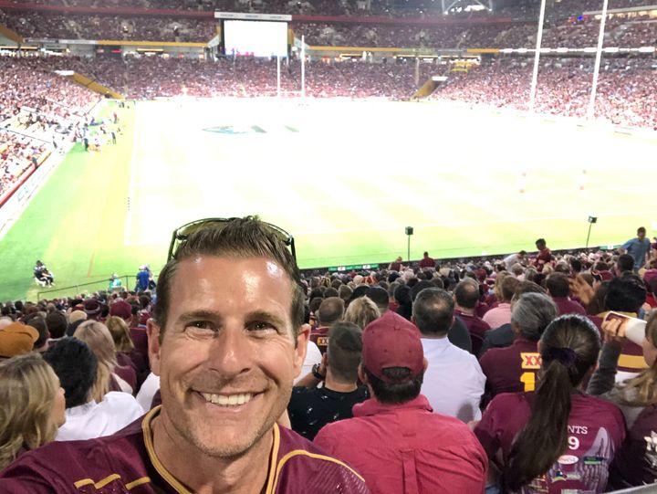 The writer takes a selfie at the 2020 National Rugby League State of Origin contest on Nov. 18, 2020.