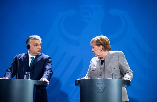 10 February 2020, Berlin: Federal Chancellor Angela Merkel (CDU) and Viktor Orban, Prime Minister of...