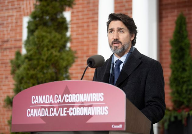 Prime Minister Justin Trudeau speaks during a bi-weekly news conference on the COVID pandemic in Ottawa...