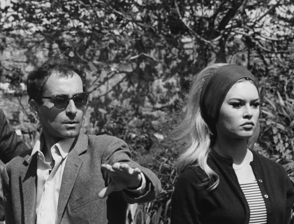 Jean-Luc Godard e Brigitte Bardot sul set de