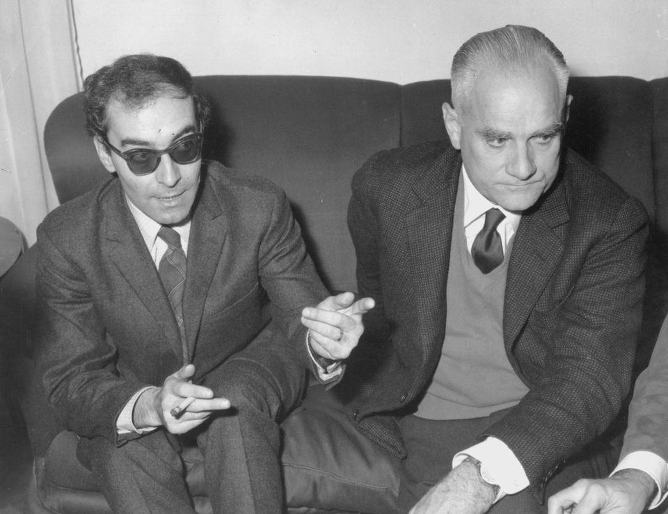 Godard con Alberto Moravia (Photo by Keystone/Hulton Archive/Getty