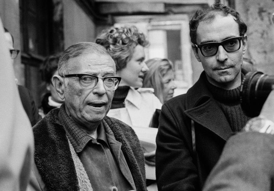 Jean-Paul Sartre e Jean-Luc Godard (Photo by Ethel BLUM-LERIN/Gamma-Rapho via Getty