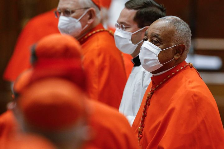 Newly-created Cardinal, US Archbishop Wilton Gregory of Washington, attends a Pope's consistory to create 13 new cardinals, o