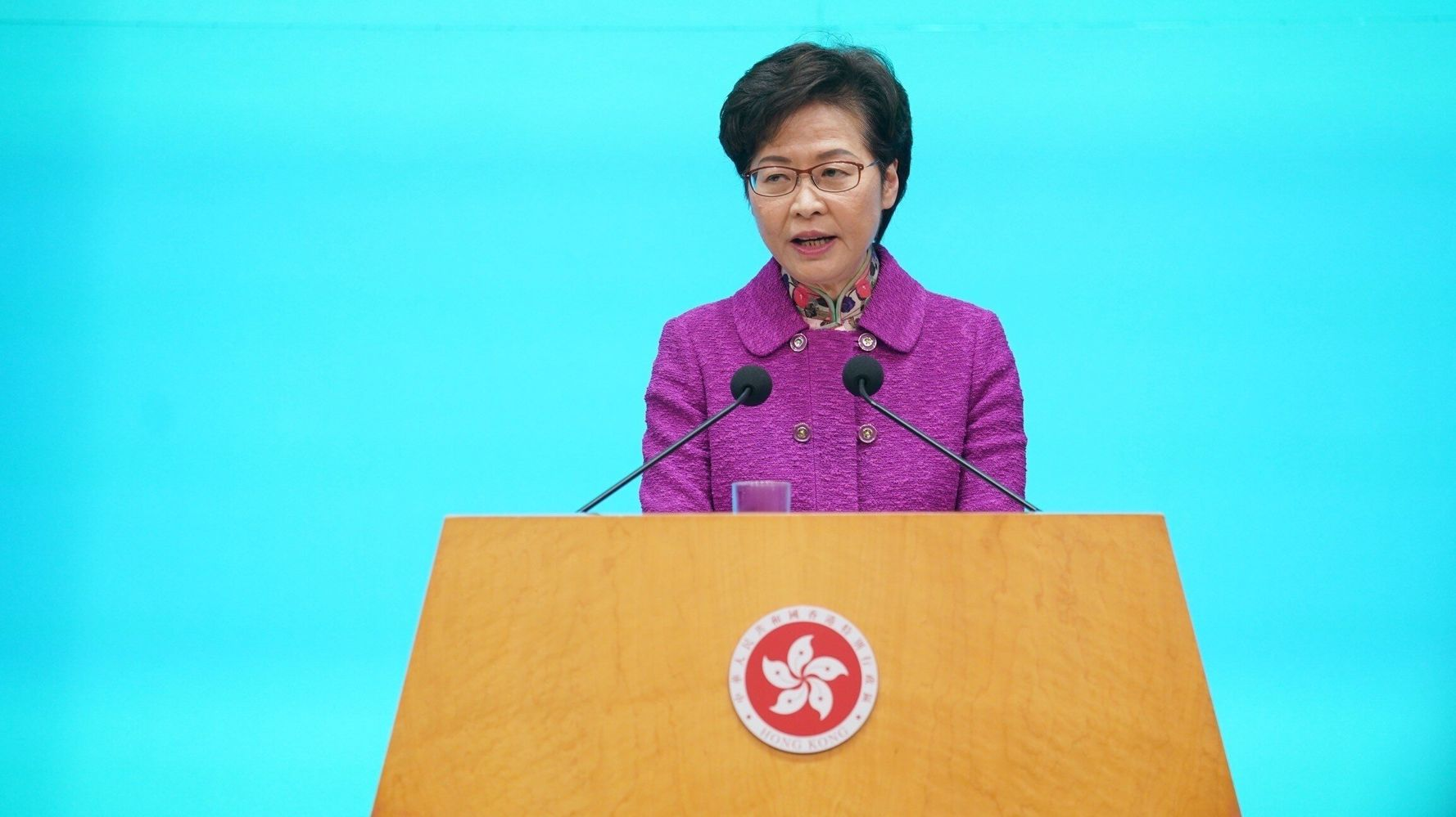 Hong Kong's Leader Says She Relies On 'Piles Of Cash' Because Of U.S. Sanctions