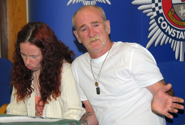Mick Philpott and wife Mairead speak to the media at Derby Conference Centre, Derby following the fire...