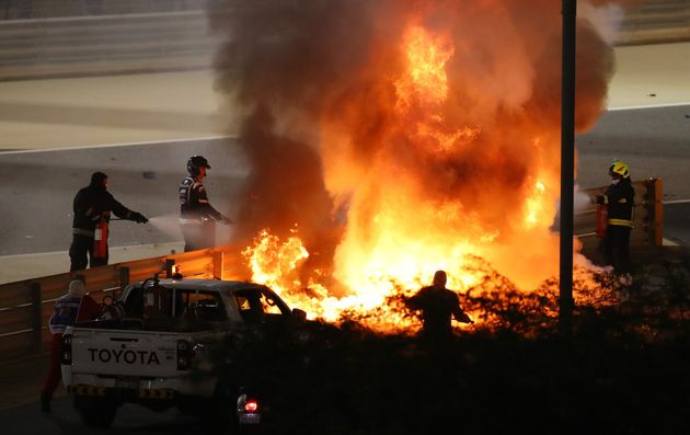 The crash of Romain Grosjean of France and Haas F1 during the F1 Grand Prix of Bahrain at Bahrain International...