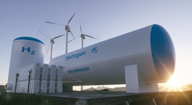 Hydrogen renewable energy production - hydrogen gas for clean electricity solar and windturbine facility....