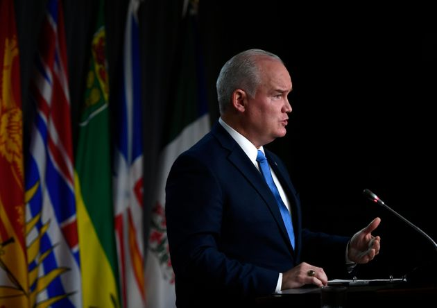 Conservative Leader Erin O'Toole speaks during a news conference on the government's planned Fall Economic...