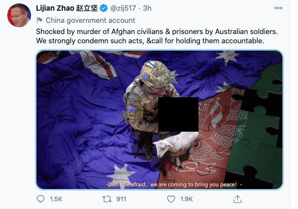 China's Lijian Zhao Tweeted the doctored image on Monday. HuffPost Australia has chosen to black...