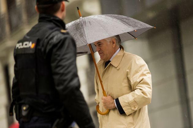 El extesorero del PP, Luis Bárcenas, en la Audiencia Nacional, el 28 de mayo de 2018 (AP Photo/Francisco