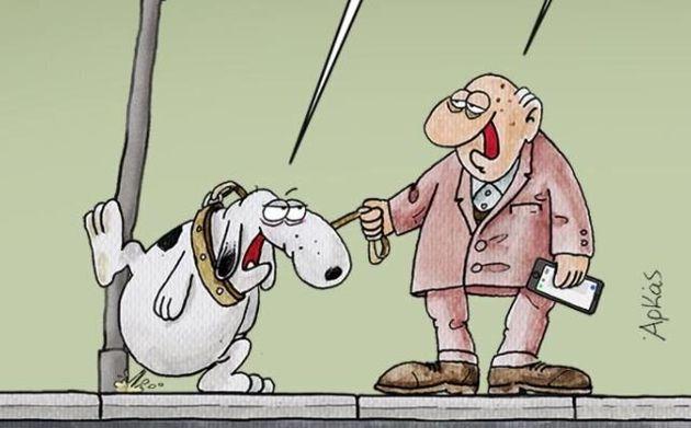 To χιουμοριστικό σκίτσο του Αρκά για τις μετακινήσεις των τετράποδων εν μέσω