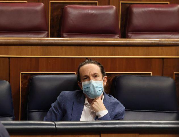 El vicepresidente segundo del Gobierno, Pablo Iglesias, el pasado 21 de octubre en el Congreso, en la...