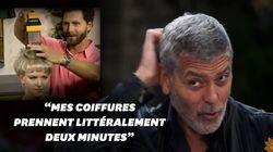 George Clooney se coupe les cheveux avec un étrange engin du téléachat des années