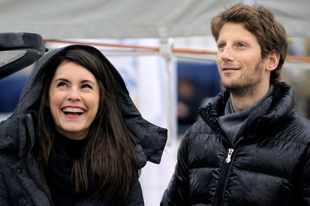 Le pilote Romain Grosjean et sa femme Marion Jollès lors de la 7e édition du