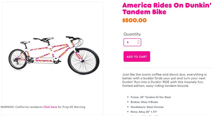 Dunkin' tandem bike, take three.