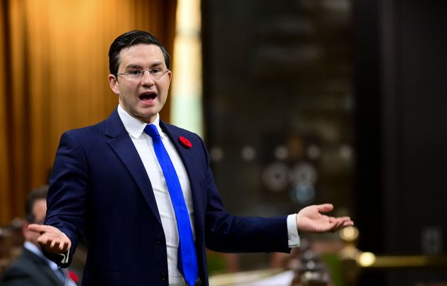 Conservative member of Parliament Pierre Poilievre asks a question during question period in the House...