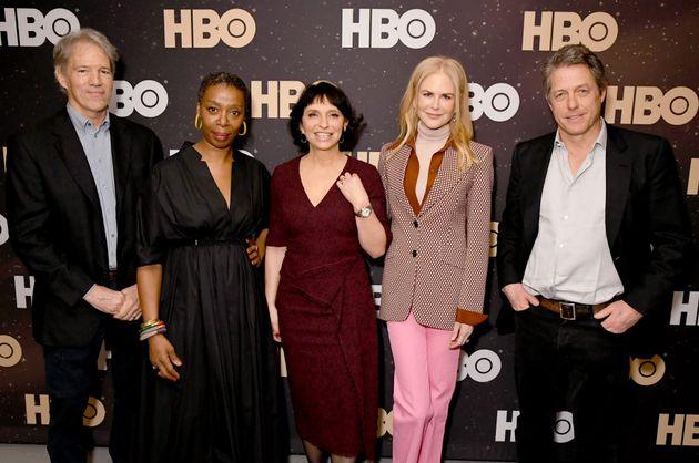 From left to right, David E. Kelley, Noma Dumezweni, Susanne Bier, Nicole Kidman and Hugh Grant of