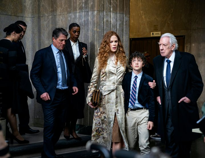 "From left: Hugh Grant, Noma Dumezweni, Nicole Kidman, Noah Jupe and Donald Sutherland in ""The Undoing."""