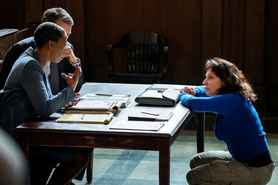 Noma Dumezweni and Hugh Grant with director Susanne Bier on the set of The