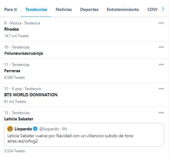 Captura de pantalla de las tendencias de Twitter en España a las