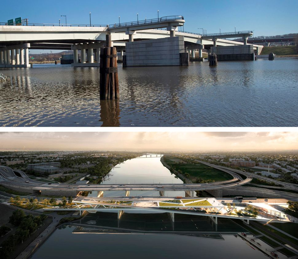Top: A view of the 11th Street Bridge over the Anacostia River in Washington, D.C. Bottom: A rendering of the proposal, which would create a park and connect the walkways on both sides of the river. Credit:OMA+OLIN/The Washington Post/Getty Images