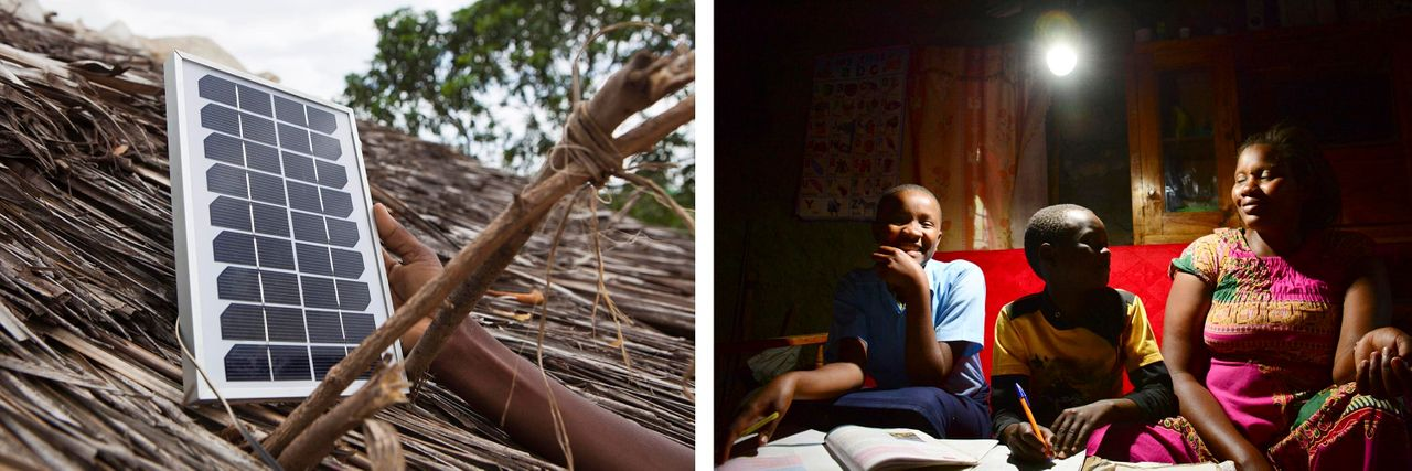 Left: A solar light is fitted onto a house near Nairobi, Kenya. Right: A family sits together under an LED bulb lit by a solar power generation kit in a rural area near Nairobi on Jan. 31, 2019. Credit: Getty Images