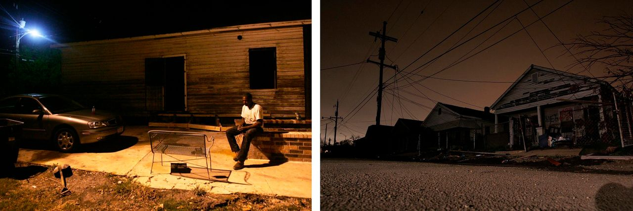 Left:Jermaine Brisco outside his Lower 9th Ward home in New Orleans, which was badly damaged by Hurricane Katrina in August 2005. In May 2006, the water in the area was still not safe to drink and electricity was mostly not functioning. Right: A row of hurricane-damaged homes with no power in the Lower 9th Ward on Feb. 20, 2006. Credit:Getty Images