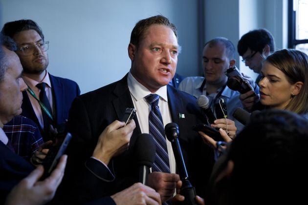 NDP MPP Taras Natyshak speaks to reporters in Toronto on March 20,