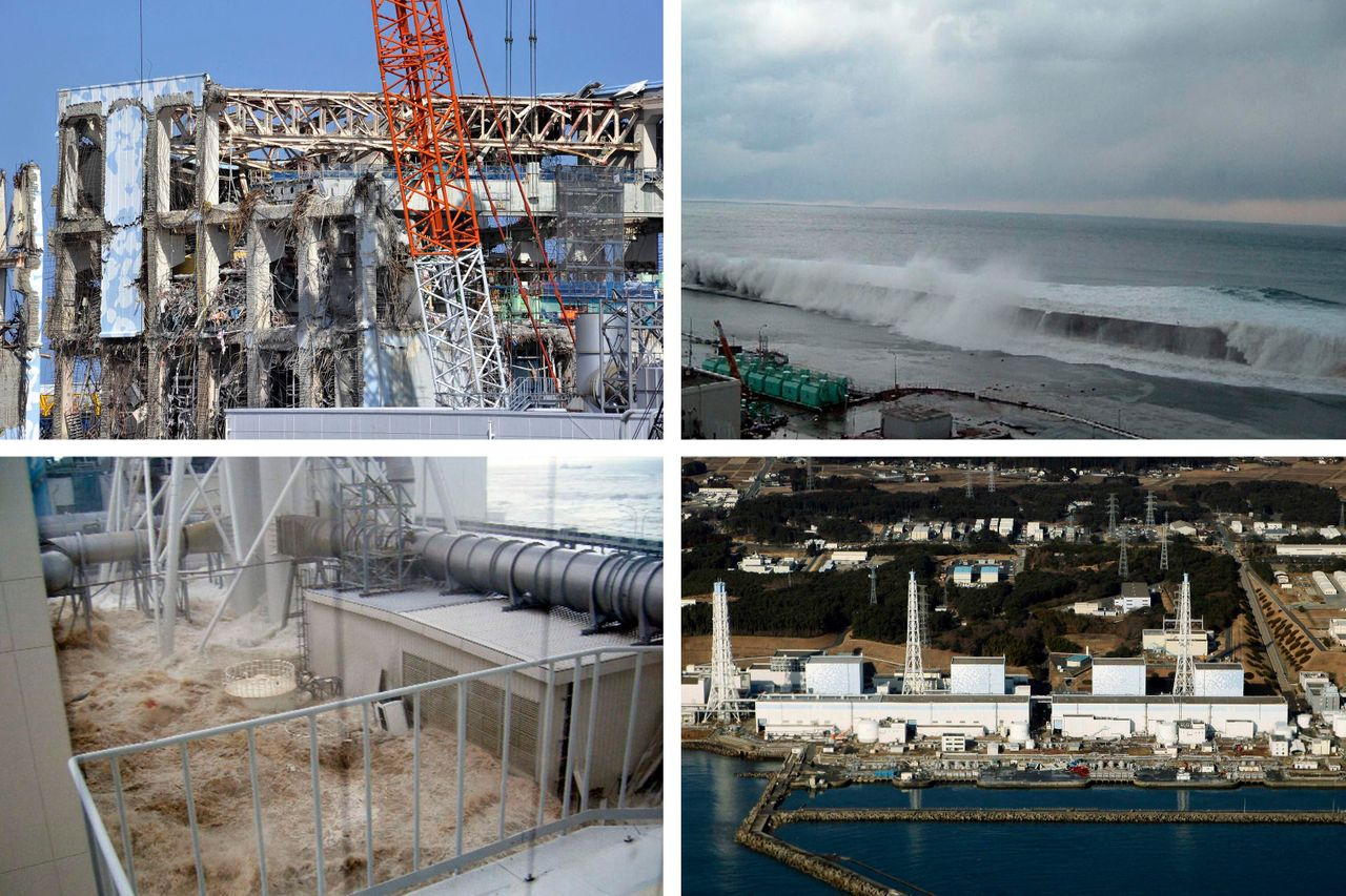 Top left: The Unit 4 reactor building of the Fukushima Daiichi nuclear power plant in northeastern Japan on Feb. 28, 2012. The country's 2011 tsunami and earthquake triggered the worst nuclear accident since Chernobyl in 1986. Top right: The east side of Unit 5 on March 11, 2011. Bottom left: Wearing special protective gear, workers clean up the Fukushima Daiichi nuclear site on June 12, 2015. Bottom right: An aerial view of the Fukushima nuclear power plant on March 12, 2011.Credit: Getty/AP