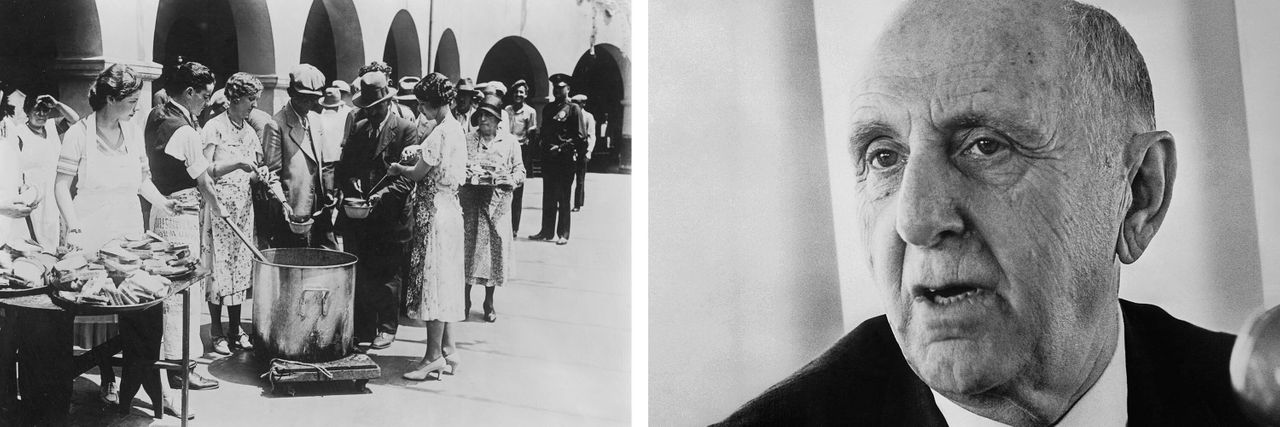Left: Unemployed men receiving soup and slices of bread in an outdoor bread line during the Great Depression in Los Angeles around 1930. Right: Economist Simon Kuznets, who devised GDP, in December 1971. Credit: Getty Images