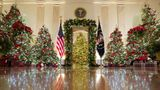 Holiday decor adorns the Cross Hall of the White House in Washington, U.S., November 30, 2020.  REUTERS/Kevin Lamarque