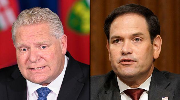 Ontario Premier Doug Ford, left, and Republican Senator Marco