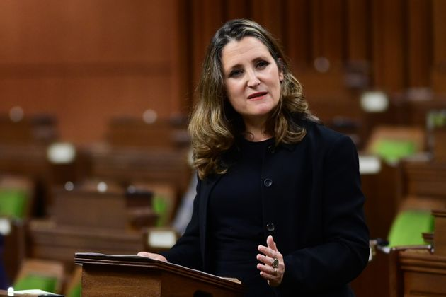 Finance Minister Chrystia Freeland delivers the 2020 fiscal update in the House of Commons on Nov. 30,