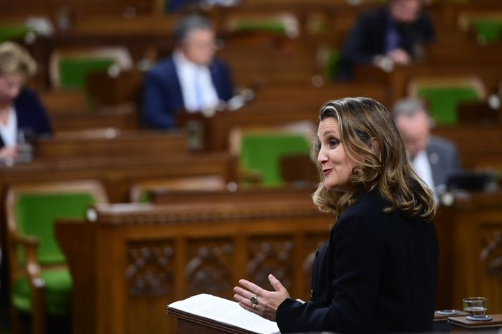 Minister of Finance Chrystia Freeland delivers the 2020 fiscal update on Nov. 30, 2020.