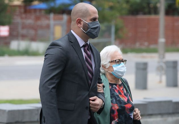 Michael Theriault arrives at the Oshawa court house on Sept. 25, 2020 for sentencing arguments regarding...