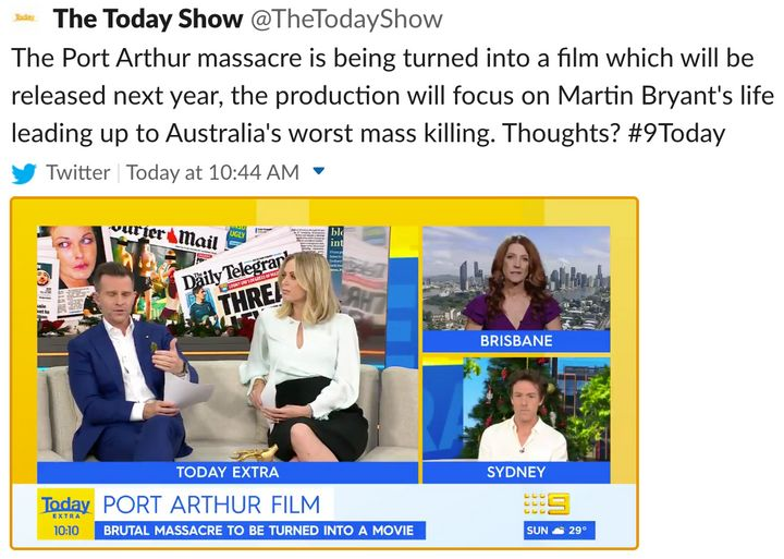 """'Today Extra' host David Campbell (L) said on Tuesday, """"I wish this was about the victims' story more than Martin Bryant's story""""."""