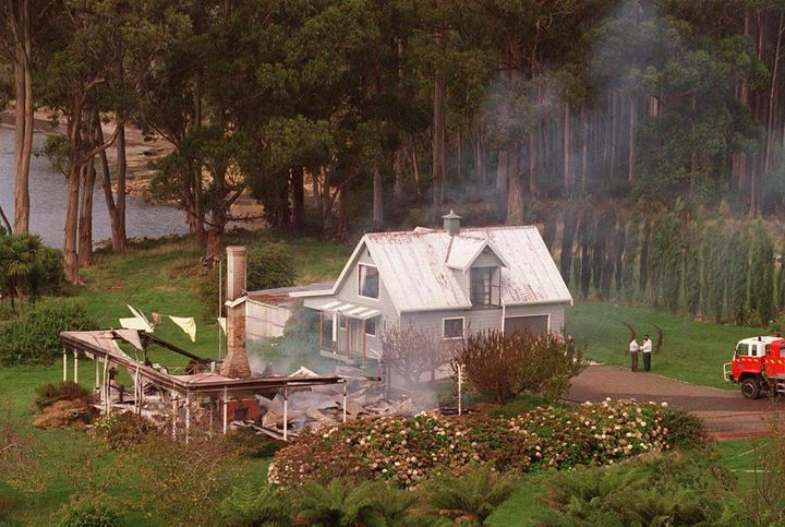 The remains of the Seascape Guesthouse in Hobart on April 29, 1996, the home where Bryant engaged in an overnight standoff with authorities.