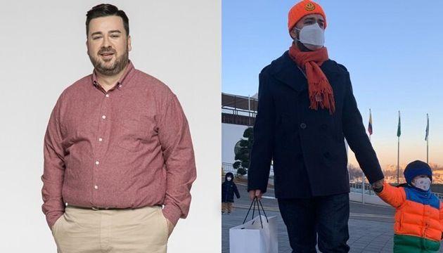 샘 해밍턴 다이어트 전 120kg 모습(왼쪽) 현재 30kg 감량한